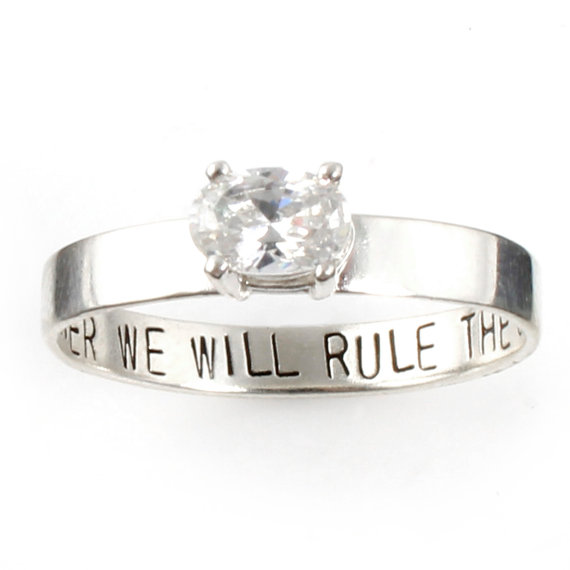 """Mariage - Star Wars Ring - """"Together We Will Rule the Galaxy"""" Engagement Ring - Sterling Silver and Cubic Zirconia - Gemstone Ring - Promise Ring"""