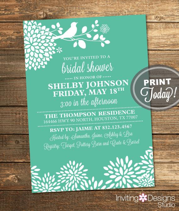 زفاف - Mint Green Bridal Shower Invitation, Bird, Floral, Modern, Printable (Custom Order, INSTANT DOWNLOAD)