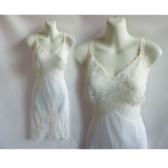 Mariage - 50s Vintage Slip Size L White Nylon Lace Movie Star 40 60s Pin Up