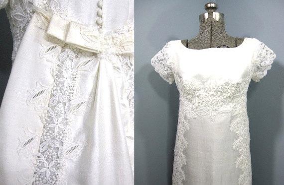 زفاف - Wedding Dress, 1960s Wedding Gown, Summer Wedding Dress, Dupioni Silk, Lace Applique, Matching Train, Matching Veil, Mint Condition