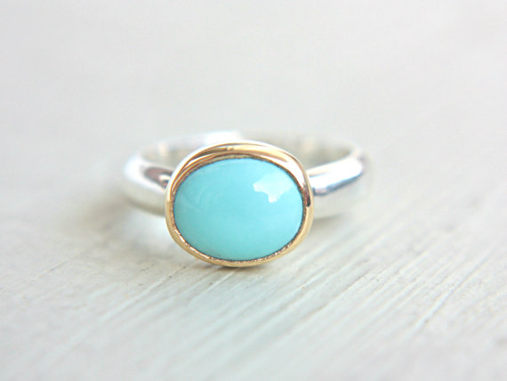 Wedding - Sleeping Beauty Turquoise Ring 18k Yellow Gold Sterling Silver Turquoise Engagement Ring Made in Your Size Silversmith Goldsmith