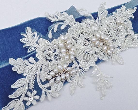 زفاف - Bridal Sash, Wedding Sash in French Blue, Ivory, Cream  With Lace, Crystals and Pearls, Rhinestones, Bridal Belt, COLOR CHOICES