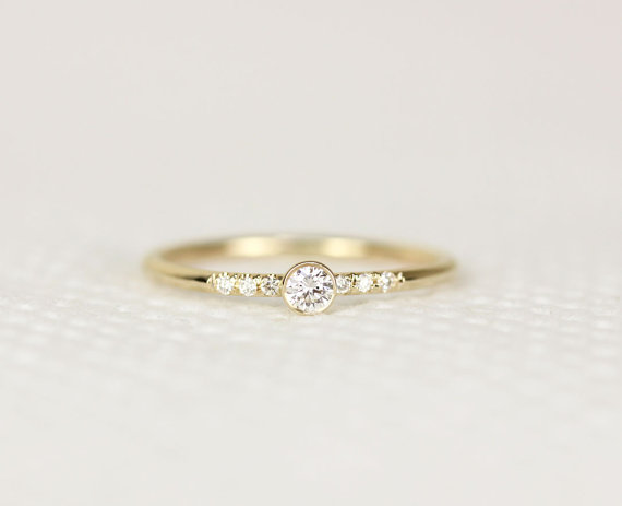 Round Diamond Engagement Ring In 14k Solid Gold Simple Thin Band Stacking Conflict Free