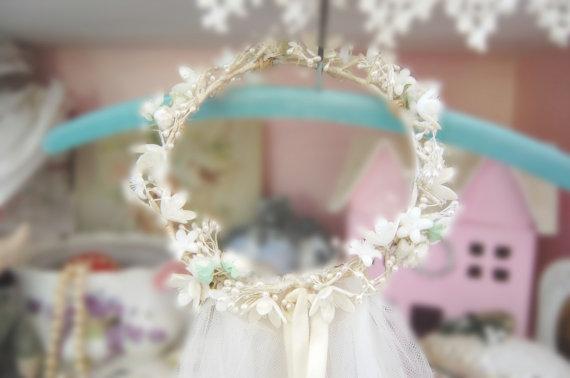 Свадьба - CUSTOM Vintage Style Bridal Veil Flowers Millinery Wedding Ivory White French Tulle Wax Flower  Ribbons Romantic Bride Gown Wedding Dress