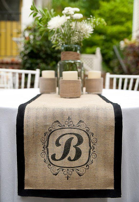 Hochzeit - Custom Monogrammed Burlap Runners By A Southern Bucket... Stunning And Perfect For Rustic Elegant Wedding Or Home Decor