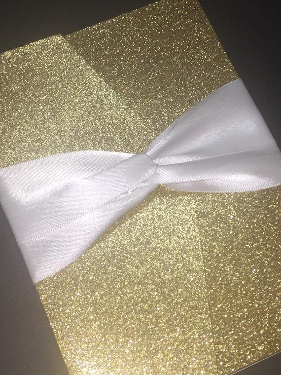 gold glitter and foil wedding invitation classic glam wedding invitation elegant formal script wedding invitation foil gold silver - Gold Glitter Wedding Invitations