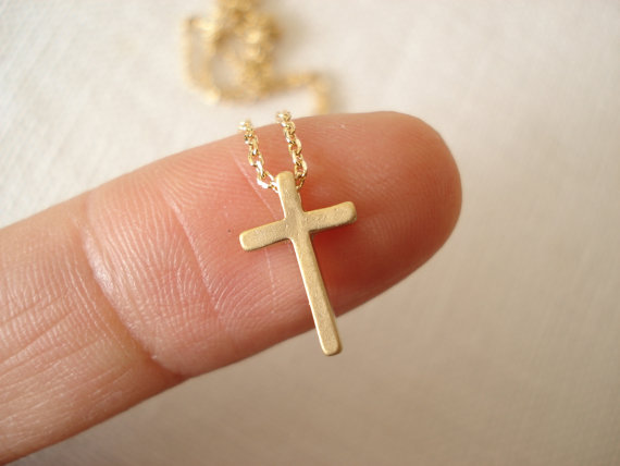 Свадьба - Tiny gold cross necklace...dainty, everyday simple minimalist, bridal jewelry, wedding, bridesmaid gift