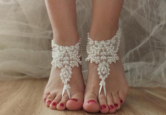 1f8631fef21d6 ... Bellydance Summer Wear Handmade Ivory Beach Shoes Bridal Sandals Lariat  Wedding