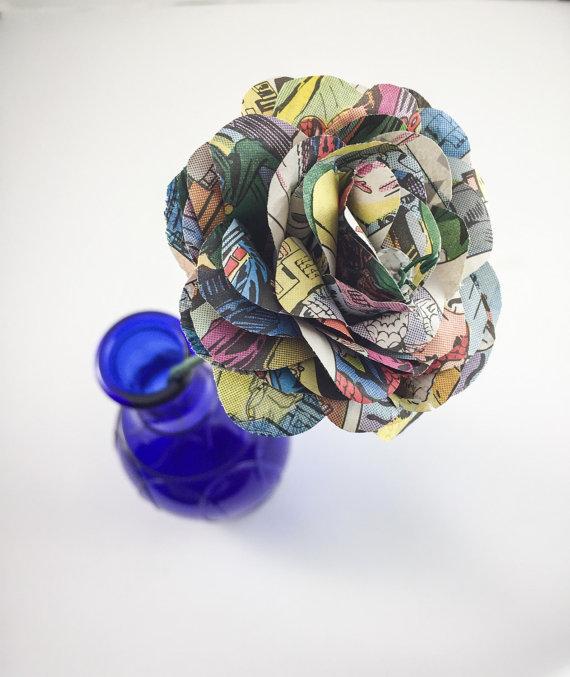 Свадьба - Comic Book Long Stem Paper Roses - Long Stem Comic Book Roses - Comic Book Flowers