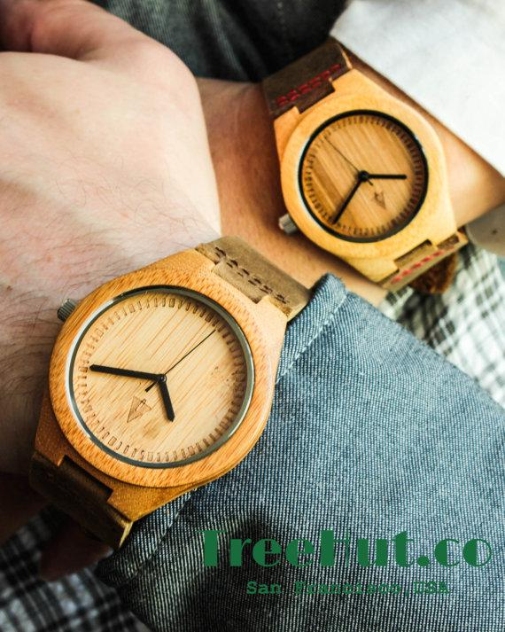 COUPLES Engraved Minimalist Wooden Watch Wedding Gift Mens watch Groomsmen gift Anniversary Gift HUT007 + Hutss7 & COUPLES Engraved Minimalist Wooden Watch Wedding Gift Mens Watch ...