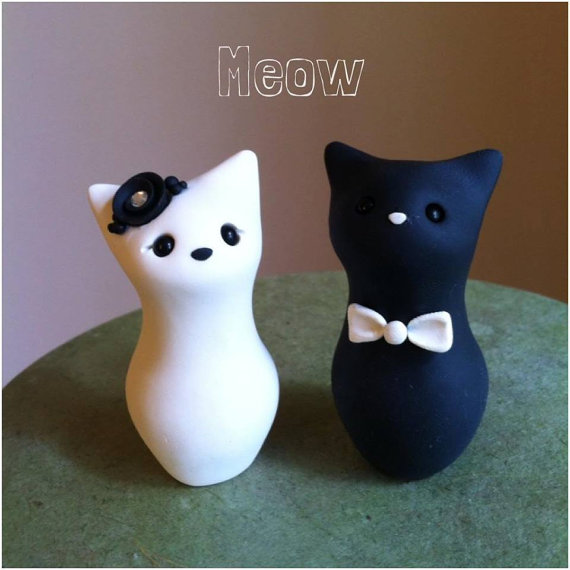 زفاف - Meow Kitty Custom Wedding Cake Topper Handmade