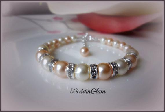 زفاف - Bridal Bracelet, Bridesmaid Bracelet, Swarovski Bridal Jewelry Bracelet, Peach ivory pearls & rhinestone, Maid of honor gift,
