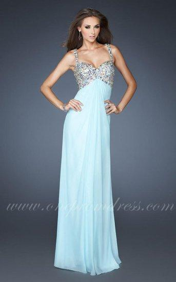 زفاف - La Femme 18841 Ice Blue Beaded Two Straps Designer Prom Dress