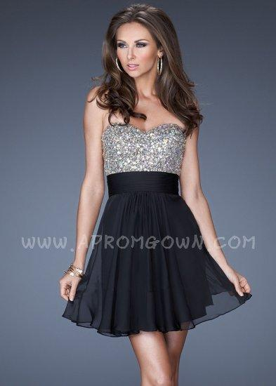 Wedding - Black Short Beaded Open Back Homecoming Dress by La Femme 19441