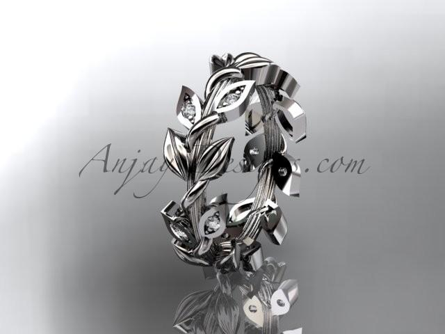 Wedding - platinum diamond leaf wedding ring, wedding band ADLR120