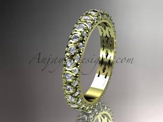 Wedding - 14kt yellow gold diamond wedding ring, engagement ring, wedding band, eternity ring ADLR123