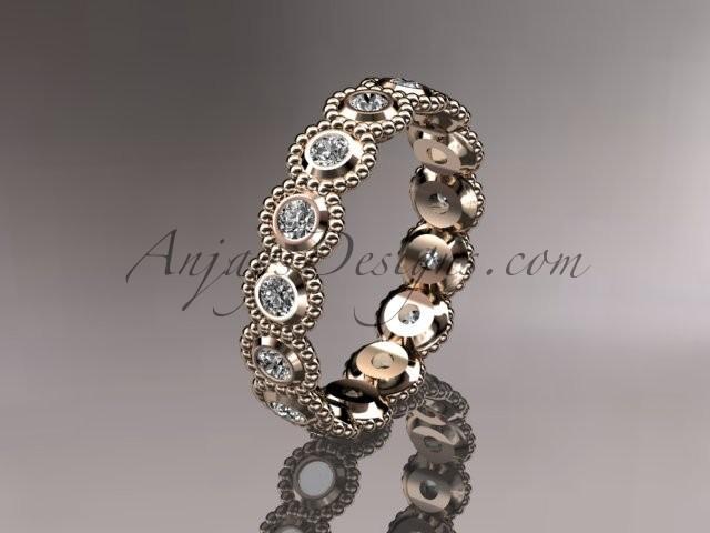 14k Rose Gold White Sapphire Flower Wedding Ring Engagement Ring