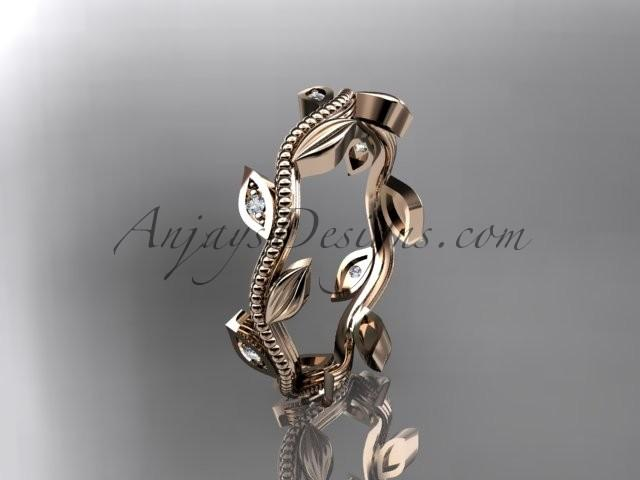 Wedding - 14kt rose gold diamond leaf wedding ring, engagement ring, wedding band ADLR117