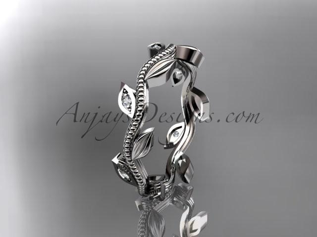 Mariage - 14kt white gold diamond leaf wedding ring, engagement ring, wedding band ADLR117