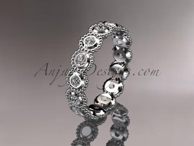 Hochzeit - 14k white gold white sapphire flower wedding ring, engagement ring, wedding band ADLR345