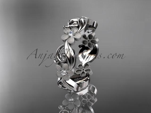 Wedding - 14kt white gold diamond flower wedding ring, engagement ring, wedding band ADLR191