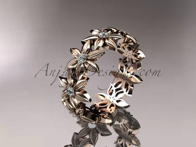 Свадьба - 14kt rose gold diamond leaf and vine wedding ring, engagement ring, wedding band ADLR18