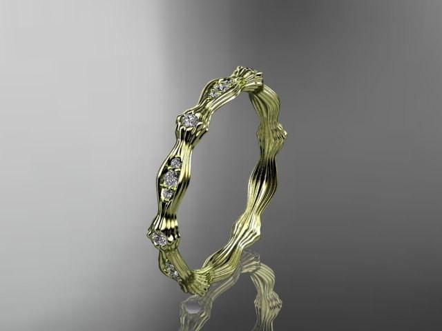 Свадьба - 14k yellow gold diamond leaf and vine wedding ring, engagement ring ADLR21B
