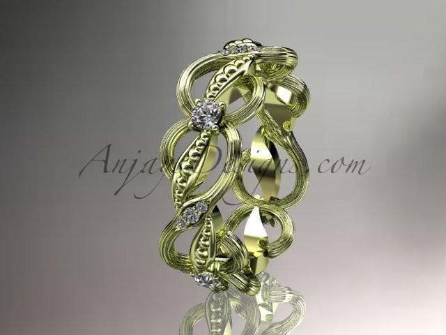 Boda - 14kt yellow gold diamond leaf and vine wedding ring, engagement ring, wedding band ADLR52