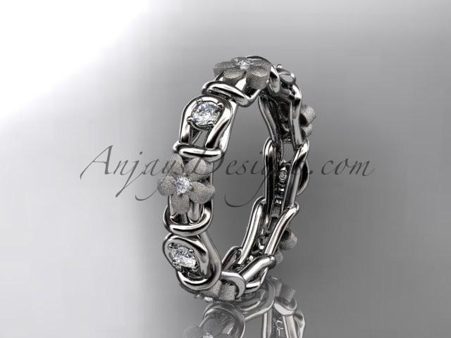Wedding - 14kt white gold diamond flower wedding ring, engagement ring, wedding band ADLR197