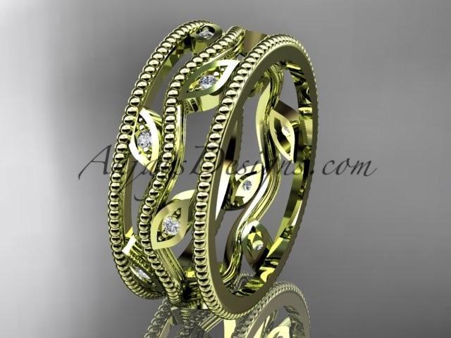 Mariage - 14k yellow gold diamond leaf and vine wedding band,engagement ring ADLR7B