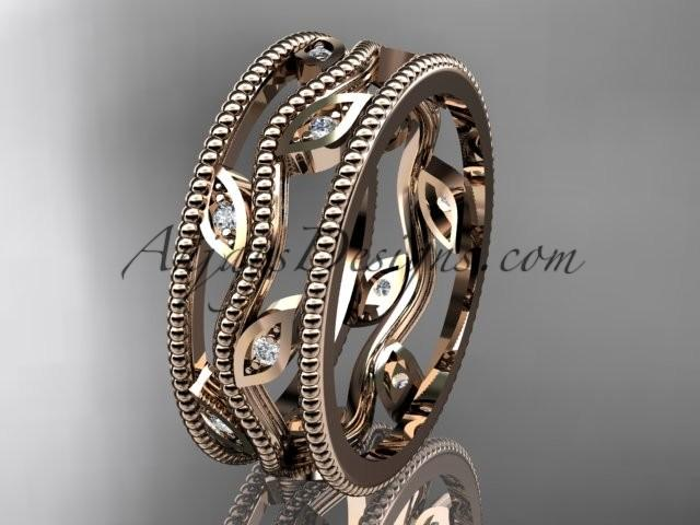 Mariage - 14k rose gold diamond leaf and vine wedding band,engagement ring ADLR7B