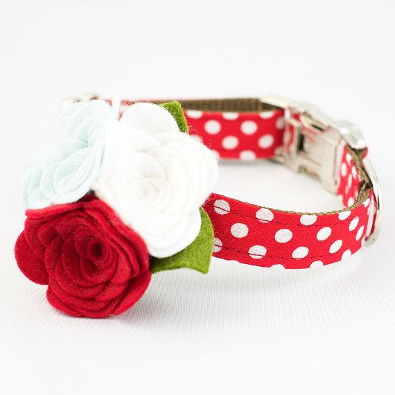 زفاف - Dog Flower Collar - Red Polka Dot