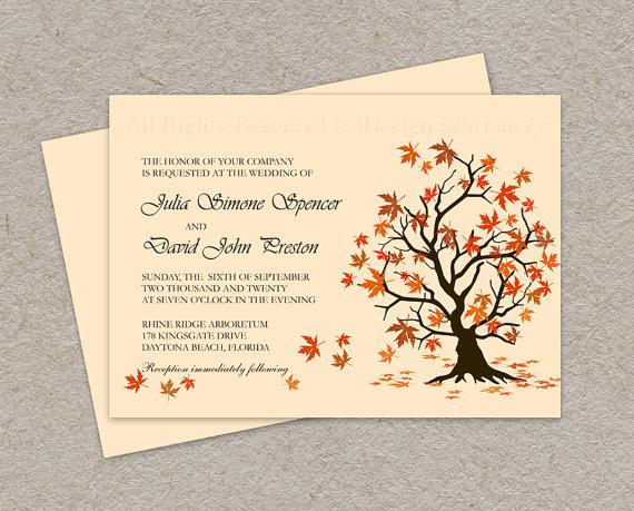 Homemade Fall Wedding Invitations: DIY Fall Wedding Invitation, Printable Fall Leaves Wedding