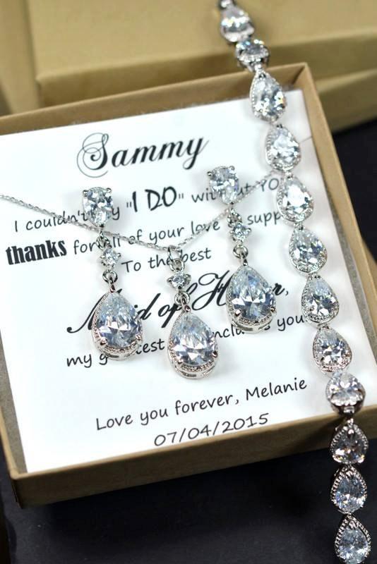 Свадьба - Wedding Jewelry Bridesmaid Gift Bridesmaid Jewelry Bridal Jewelry  tear Drop necklace  Cubic Zirconia dangle Necklace ,bridesmaid gifts