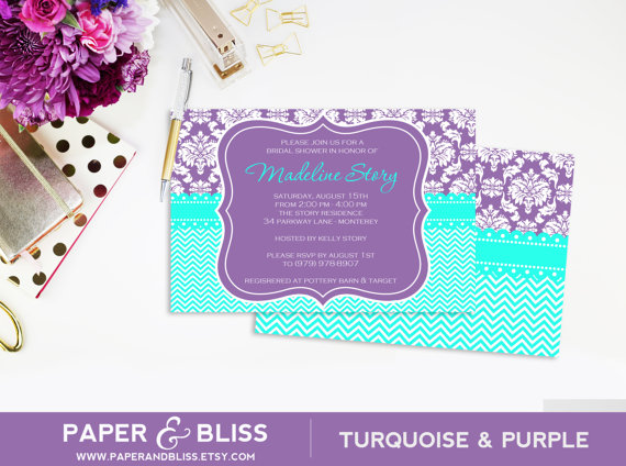 purple damask turquoise chevron invitation bridal shower baby shower