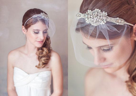 Свадьба - Wedding Veil Headband, Art Deco Crystal Pearl Great Gatsby Headband, Birdcage Veil, blusher veil, Mini Veil Headband, Crystal Headpiece