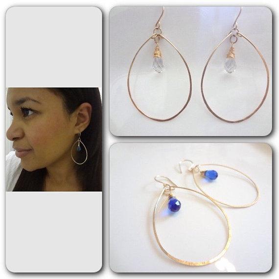 Свадьба - Personalized Gold Hoops, Earrings, Clear, Gold Filled, Weddings, Bridesmaids, Fashion, Modern, Minimalist, Handmade Jewelry, Jewellery