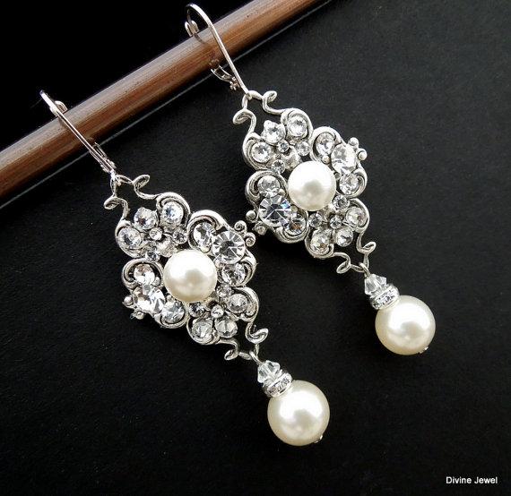 Свадьба - Pearl Earrings,Bridal Earrings,Ivory or White Pearls,Pearl Rhinestone Earrings,Bridal Pearl Earrings,Bridal Rhinestone Earrings,Pearl,CLAUDE