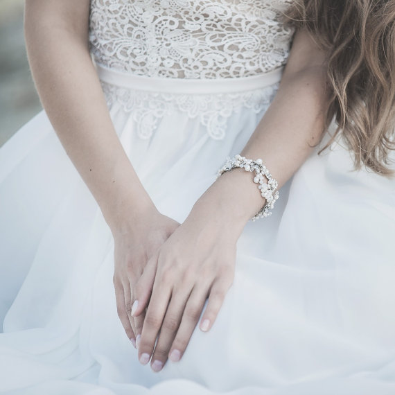 Свадьба - Freshwater Pearl Bracelet ,Bridal Jewelry, Ivory White Pearls Cuff Bracelet, Floral Bracelet ,Swarovski Opal Crystals Wedding Jewelry