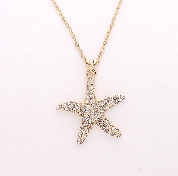 Свадьба - Gold Starfish Necklace Beach Wedding Bridal Bridesmaid Gift Rhinestone Starfish Charm Pendant Necklace Accessory Nautical Gold Beach Jewelry
