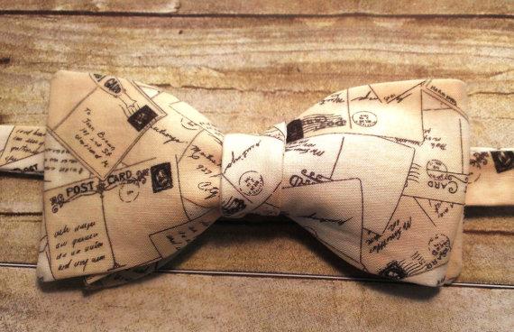 Свадьба - Vintage Postcard Bow Tie, Hair Clip, Headband, or Pet Bow Tie