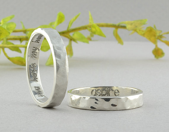 Boda - Personalized Ring, 3.5x1.5mm, Engraved Ring, Hammer Textured, Inside Engraved Ring, Silver Ring, Sterling Ring, Personalized Jewelry