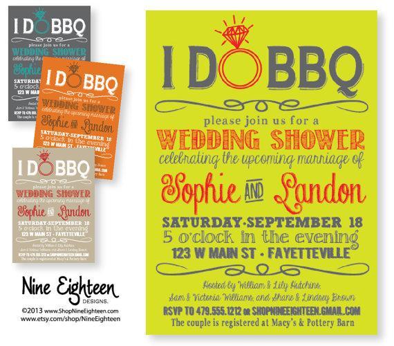i do bbq wedding shower barbeque bridal shower choose your colors custom printable pdfjpg invitation i design you print