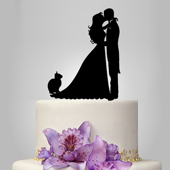 Acrylic Wedding Cake Topper Bride And Groom Silhouette Cat Funny