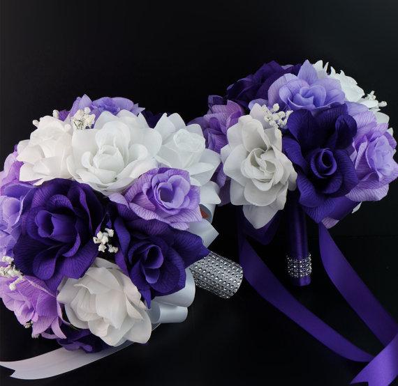 Mariage - 2 bouquets-purple,lavender,white-silk flower arrangement