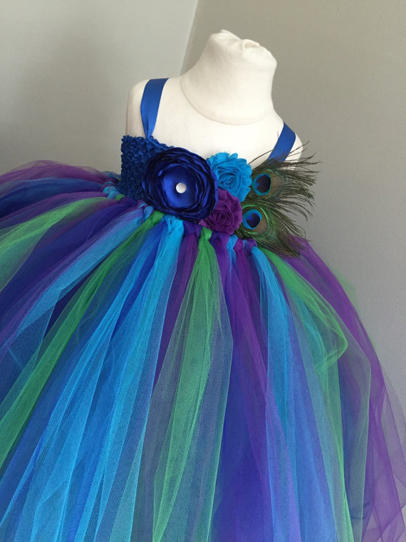 Mariage - peacock tulle flower girl dress, girls peacock dress, girls peacock wedding tulle dress, peacock wedding, peacock costume