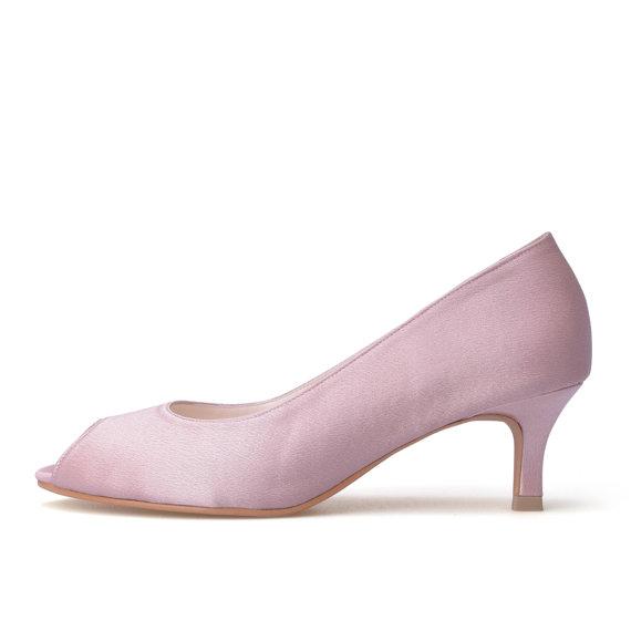 Mariage - Custom Made Wedding Heels, Nude Wedding Heels with Big Bow, Nude Wedding Shoes, Nude Bridal Shoes