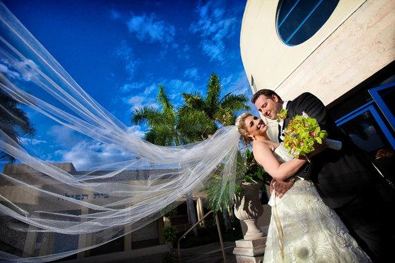 Mariage - Wedding Veil - Cathedral Length Full One Tier Cut Edge Bridal Veil
