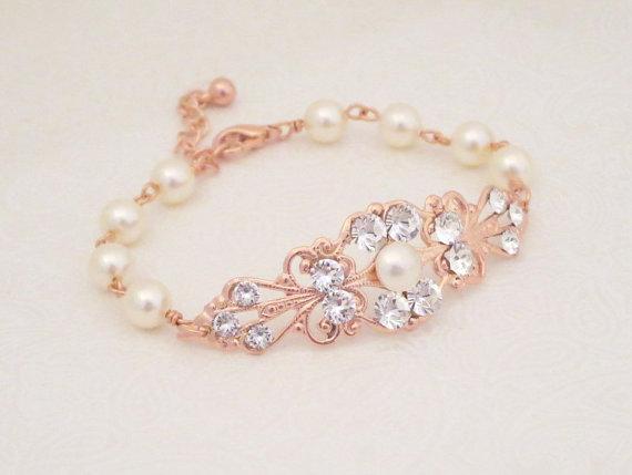 Rose Gold Pearl Bracelet Bridal Wedding Jewelry Crystal Rhinestone Vintage Style