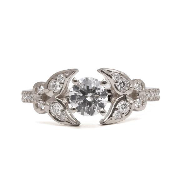 Свадьба - Butterfly Engagement Ring - 18K White Gold and Diamond engagement ring, diamond ring, unique engagement ring, art deco engagement ring